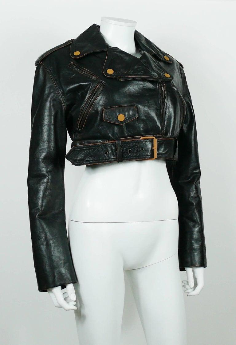 Red Jean Paul Gaultier Vintage Cropped Biker Jacket  For Sale