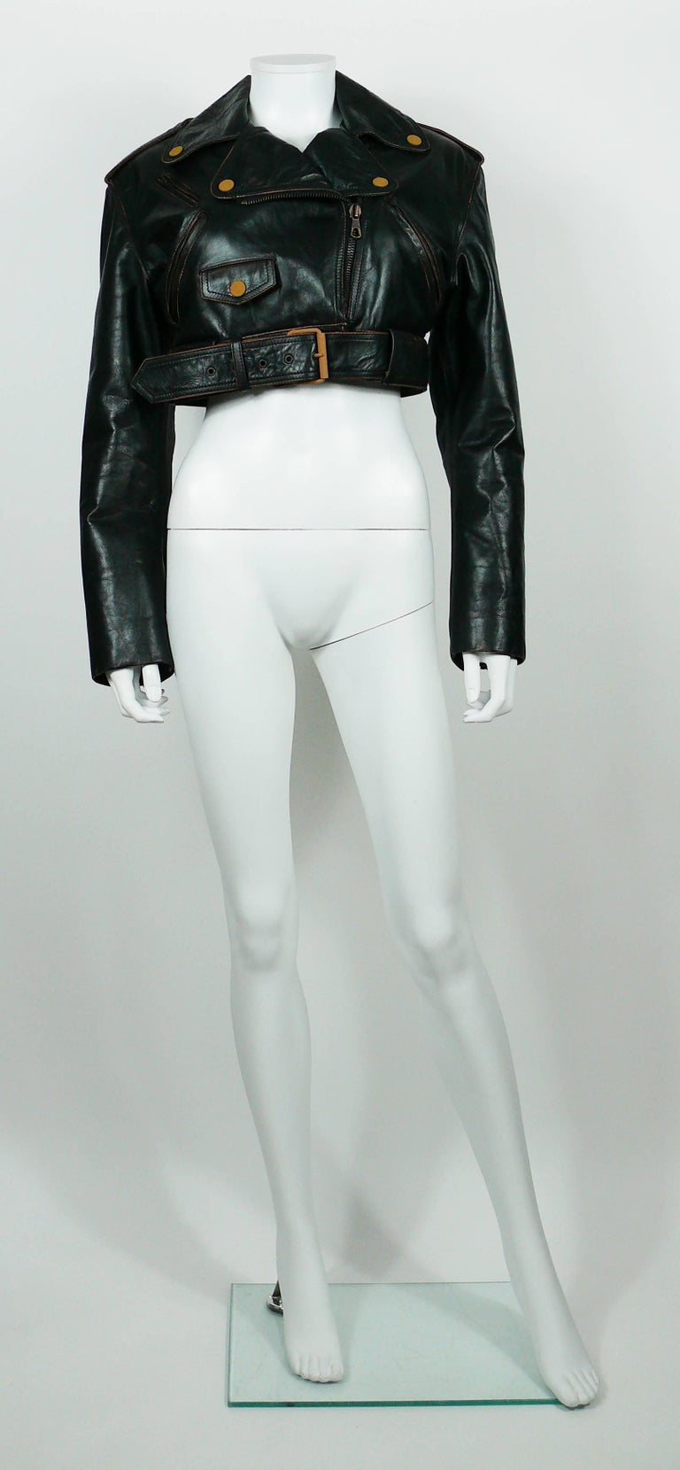 Jean Paul Gaultier Vintage Cropped Biker Jacket  In Excellent Condition For Sale In French Riviera, Cote d'Azur