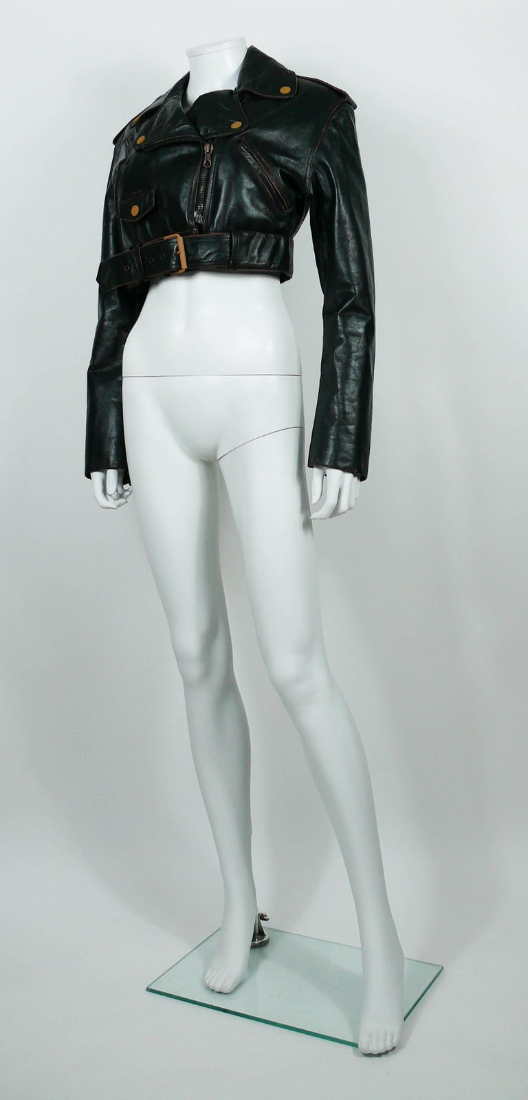Jean Paul Gaultier Vintage Cropped Biker Jacket  For Sale 1