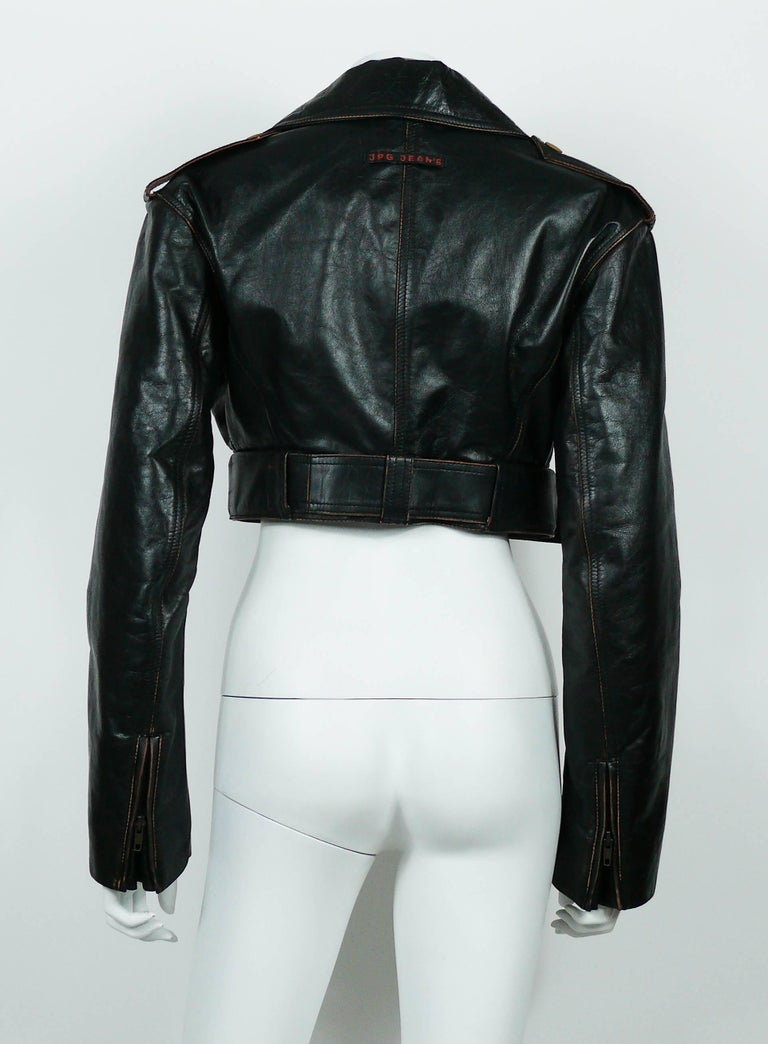 Jean Paul Gaultier Vintage Cropped Biker Jacket  For Sale 2