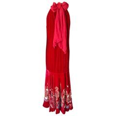Jean Paul Gaultier Vintage Embellished Landmarks Velvet Maxi Evening Dress Gown