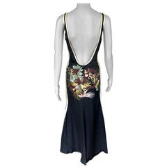 Jean Paul Gaultier Vintage Embroidered Sheer Open Back Silk Maxi Evening Dress