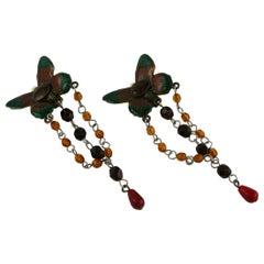 Jean Paul Gaultier Vintage Enamel Butterfly Dangling Earrings