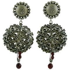 Jean Paul Gaultier Vintage Filigree Safety Pin Dangling Earrings
