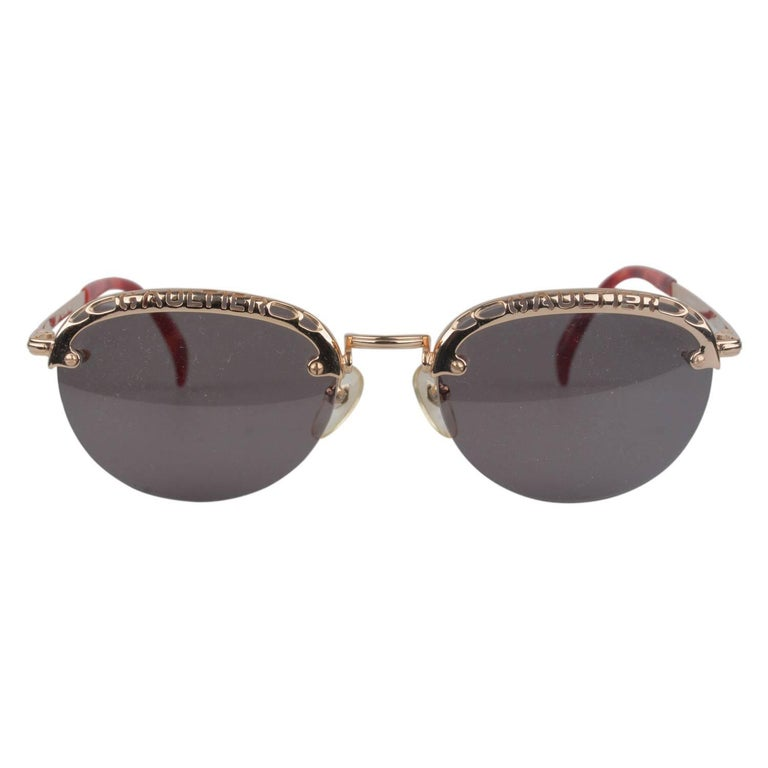 Jean Paul Gaultier Vintage Gold Round Sunglasses