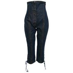 Jean Paul Gaultier Vintage High Waist Corset Cropped Denim Pants Trousers