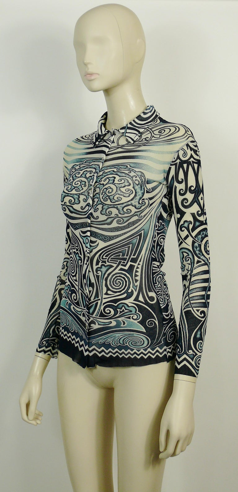 Women's or Men's Jean Paul Gaultier Vintage Iconic Tribal Tattoo Mesh Shirt Size S For Sale