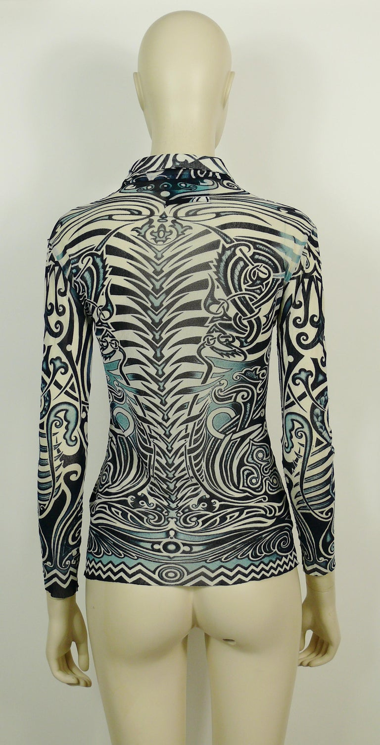 Jean Paul Gaultier Vintage Iconic Tribal Tattoo Mesh Shirt Size S For Sale 1