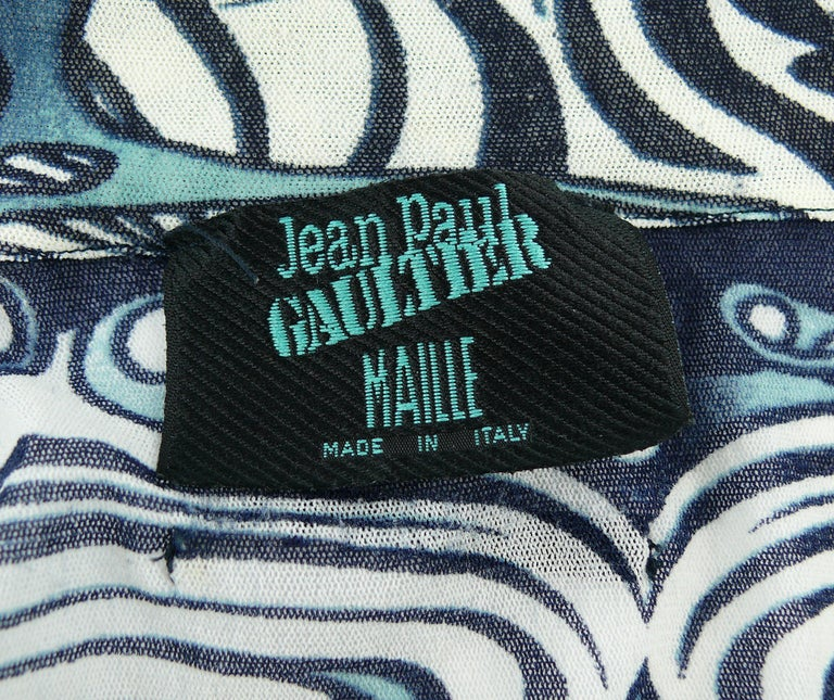 Jean Paul Gaultier Vintage Iconic Tribal Tattoo Mesh Shirt Size S For Sale 2
