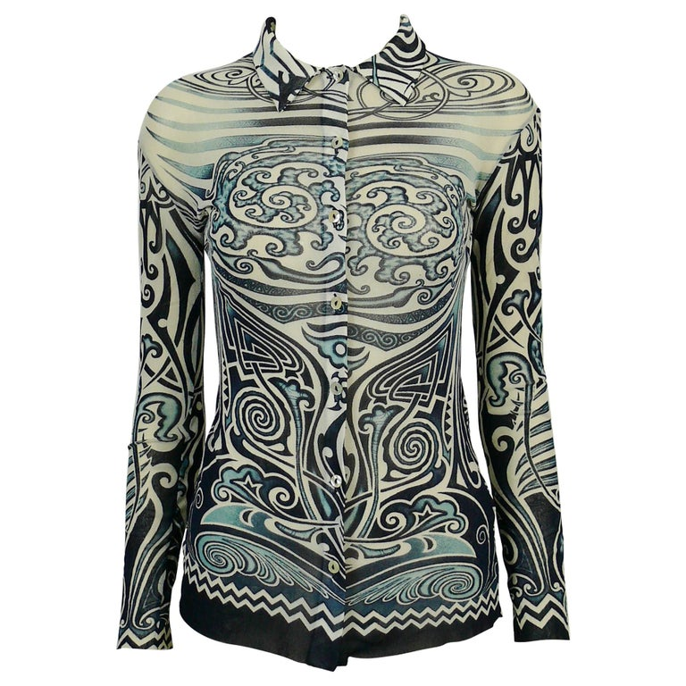 Jean Paul Gaultier Vintage Iconic Tribal Tattoo Mesh Shirt Size S For Sale