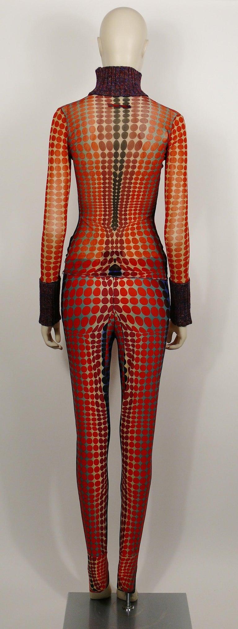 Jean Paul Gaultier Vintage Sheer Mesh Op Art Polka Dot