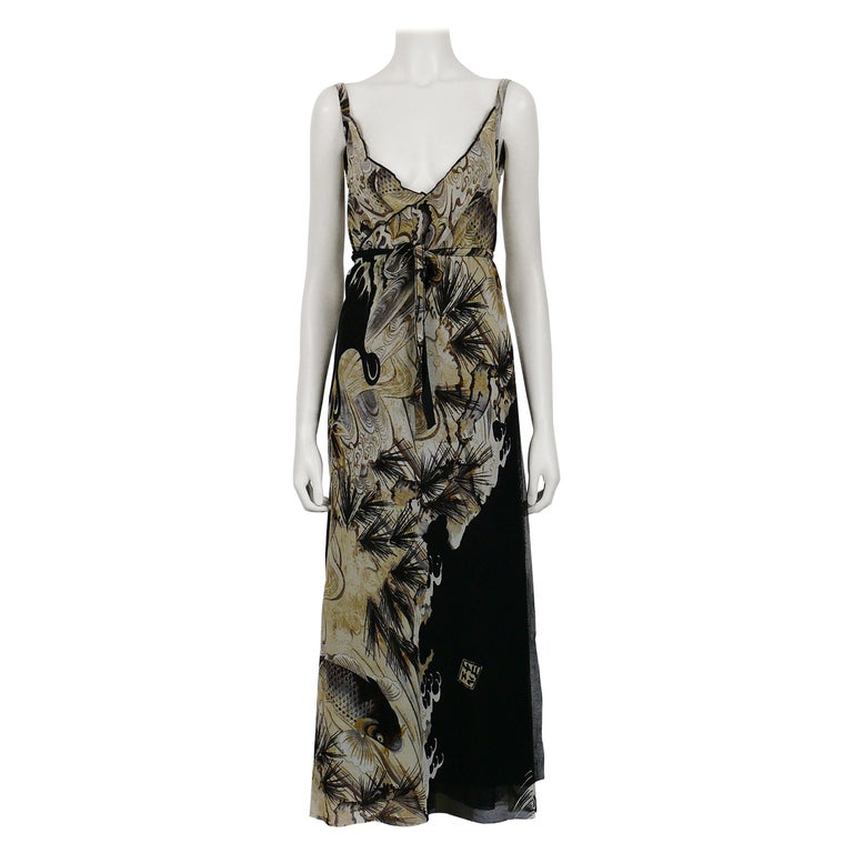 Jean Paul Gaultier Vintage Koi Fish Tattoo Sheer Mesh Wrap Dress Size M