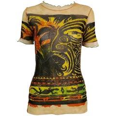Jean Paul Gaultier Vintage Maori Print Sheer Mesh Top Size M