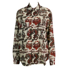 Jean Paul Gaultier Vintage Men's Dragon Skull Eagle Tattoo Print Shirt