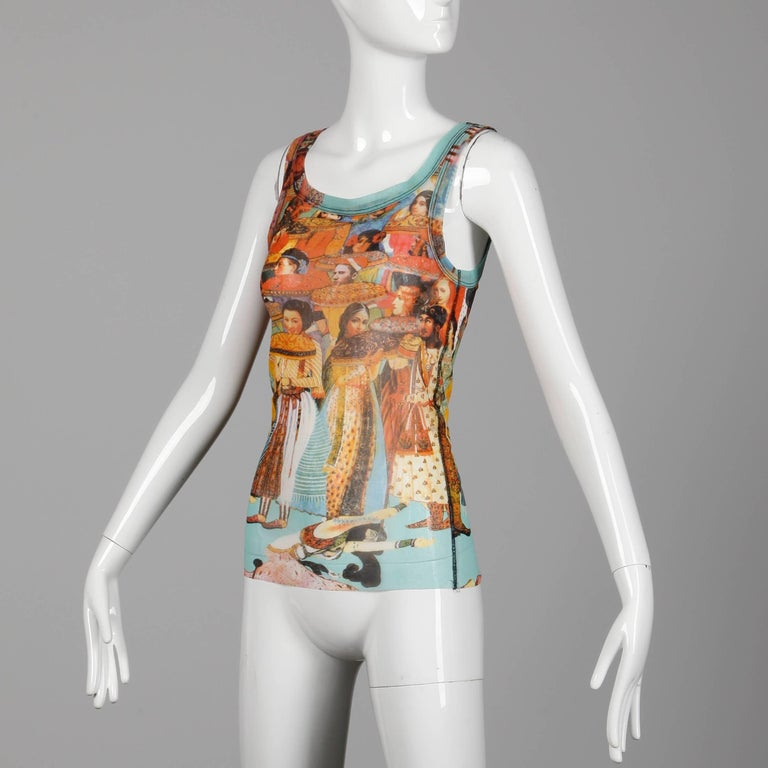 Jean Paul Gaultier Vintage Mesh Asian and Indian Faces Tank Top Shirt, 1990s  In Excellent Condition For Sale In Sparks, NV