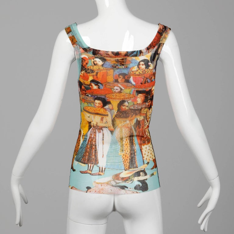 Women's Jean Paul Gaultier Vintage Mesh Asian and Indian Faces Tank Top Shirt, 1990s  For Sale