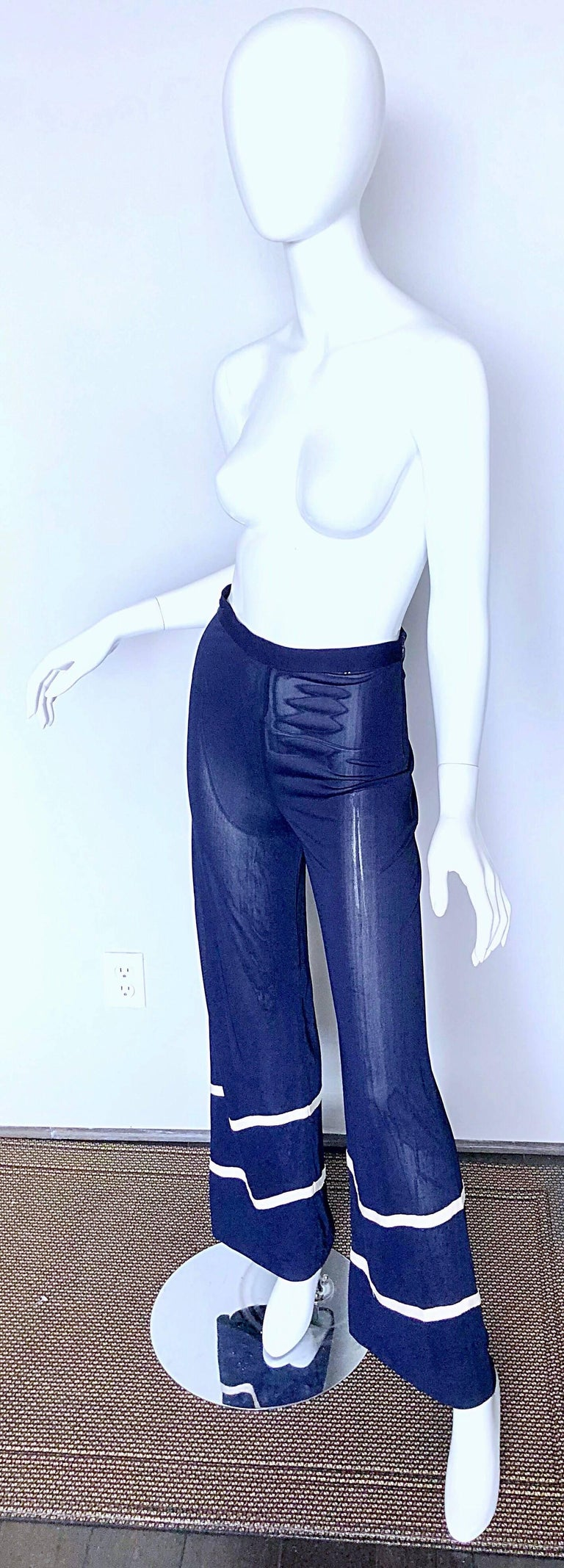 Purple Jean Paul Gaultier Vintage Navy Blue White Semi Sheer Wide Leg Nautical Pants  For Sale