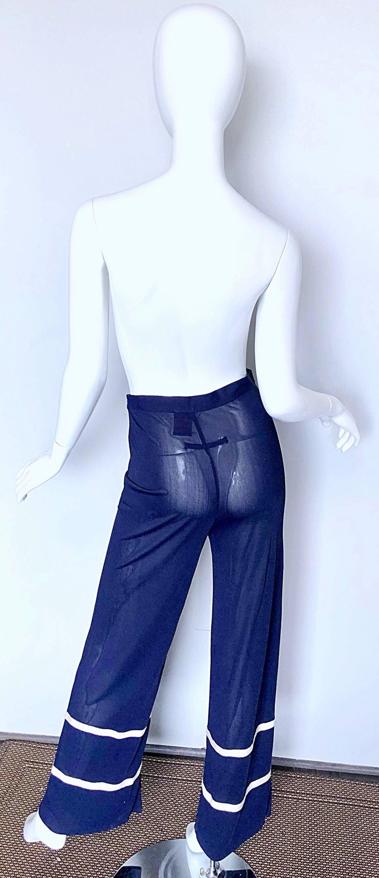 Jean Paul Gaultier Vintage Navy Blue White Semi Sheer Wide Leg Nautical Pants  In Excellent Condition For Sale In Chicago, IL