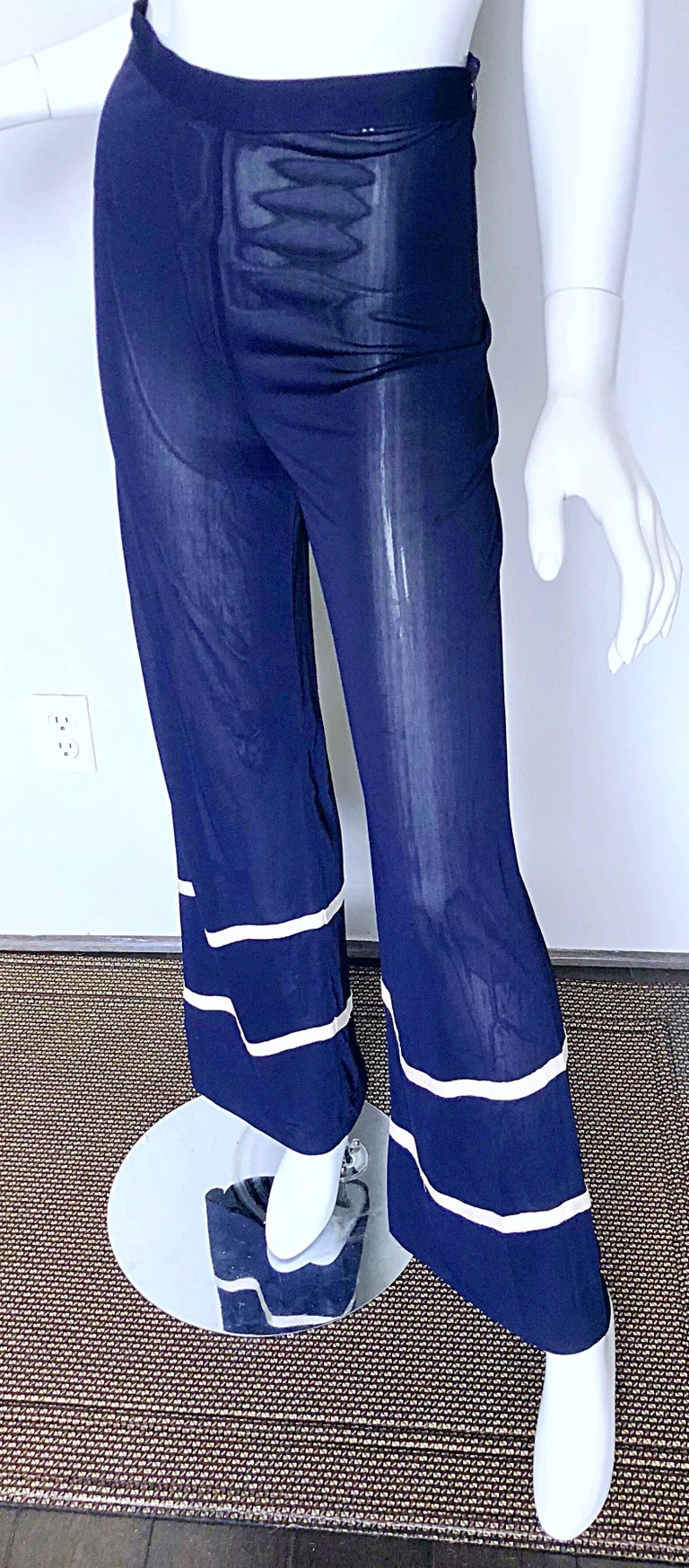 Jean Paul Gaultier Vintage Navy Blue White Semi Sheer Wide Leg Nautical Pants  For Sale 2