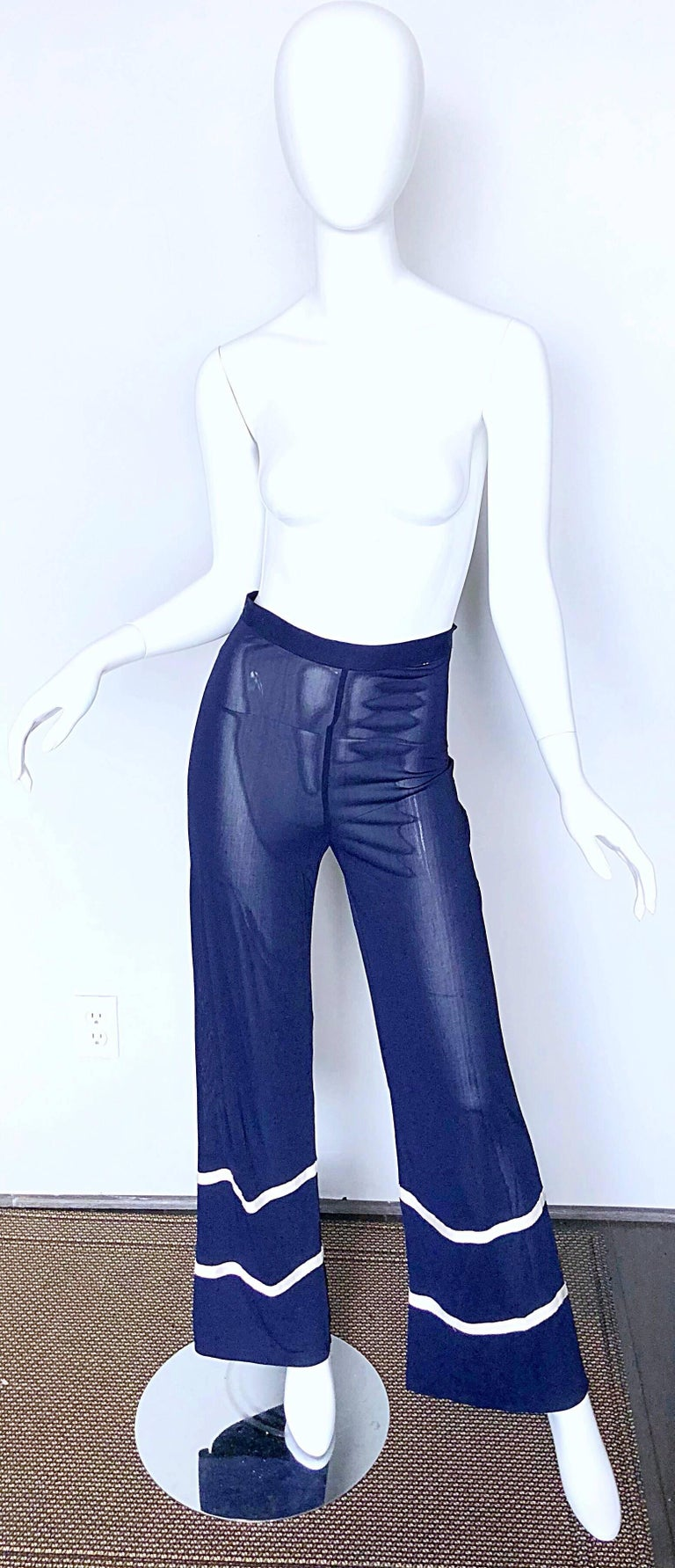Jean Paul Gaultier Vintage Navy Blue White Semi Sheer Wide Leg Nautical Pants  For Sale 4