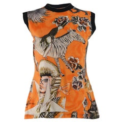 Jean Paul Gaultier Vintage Orange Pop Art Vest Tank Top