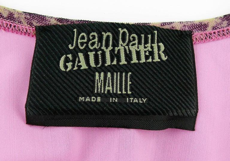 Jean Paul Gaultier Vintage Oriental Bath Print Mesh Tank Micro Mini Dress Size L For Sale 6