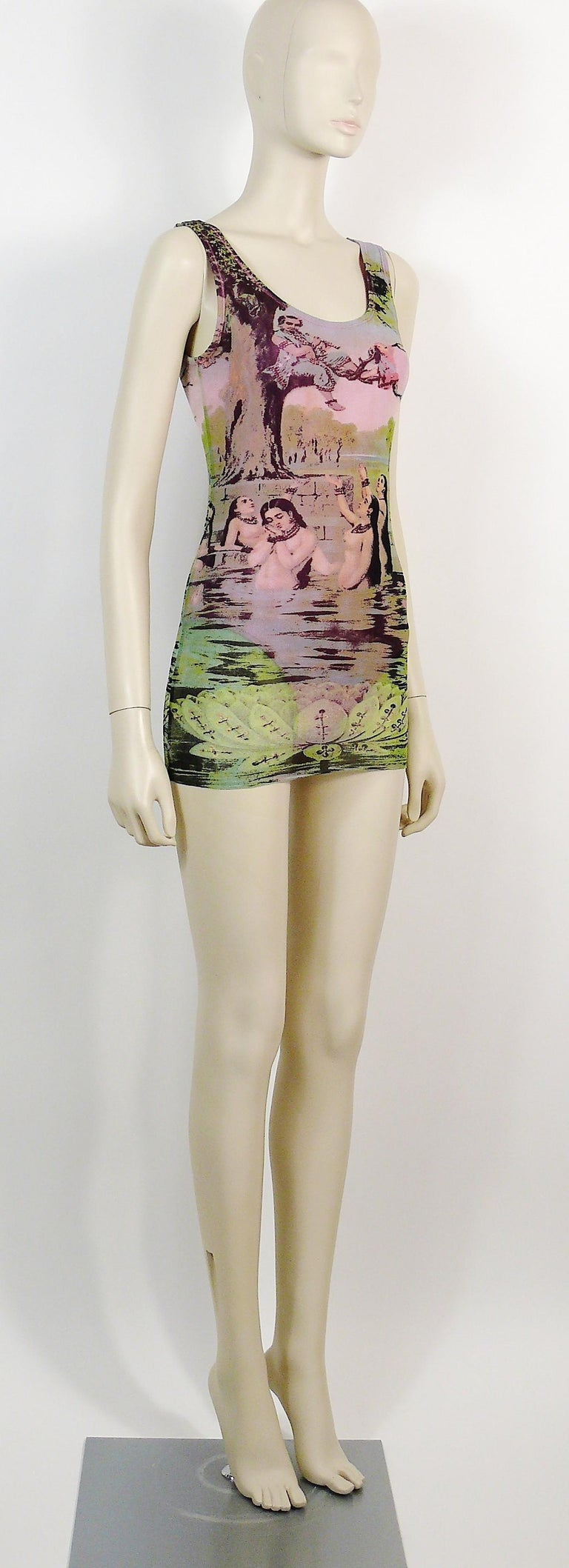 JEAN PAUL GAULTIER vintage FUZZI mesh tank micro mini dress featuring a gorgeous Oriental Bath scene print.  This dress is fully lined with a pink nylon bodysuit (snap button closure).  Label reads JEAN PAUL GAULTIER MAILLE Made in Italy.  Size tag
