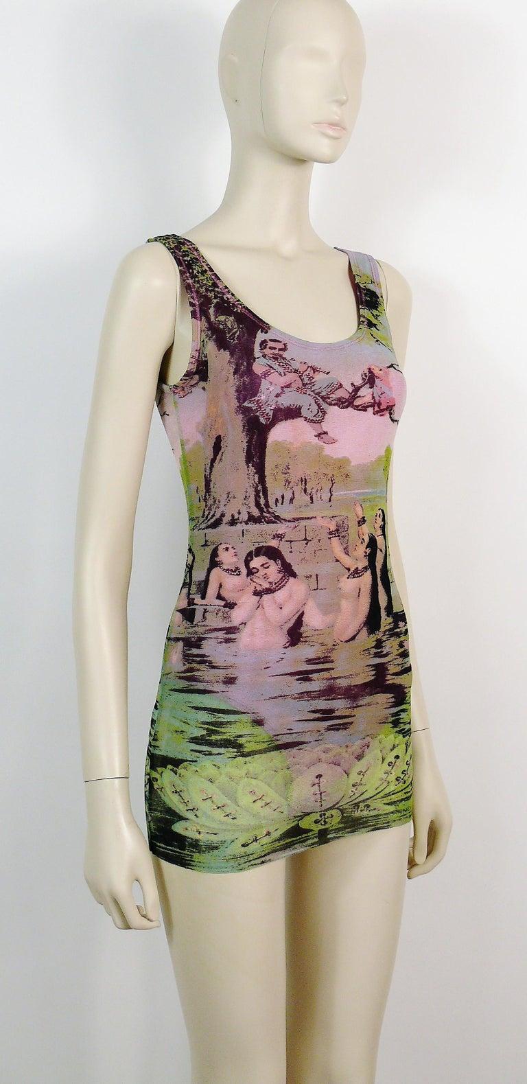 Brown Jean Paul Gaultier Vintage Oriental Bath Print Mesh Tank Micro Mini Dress Size L For Sale