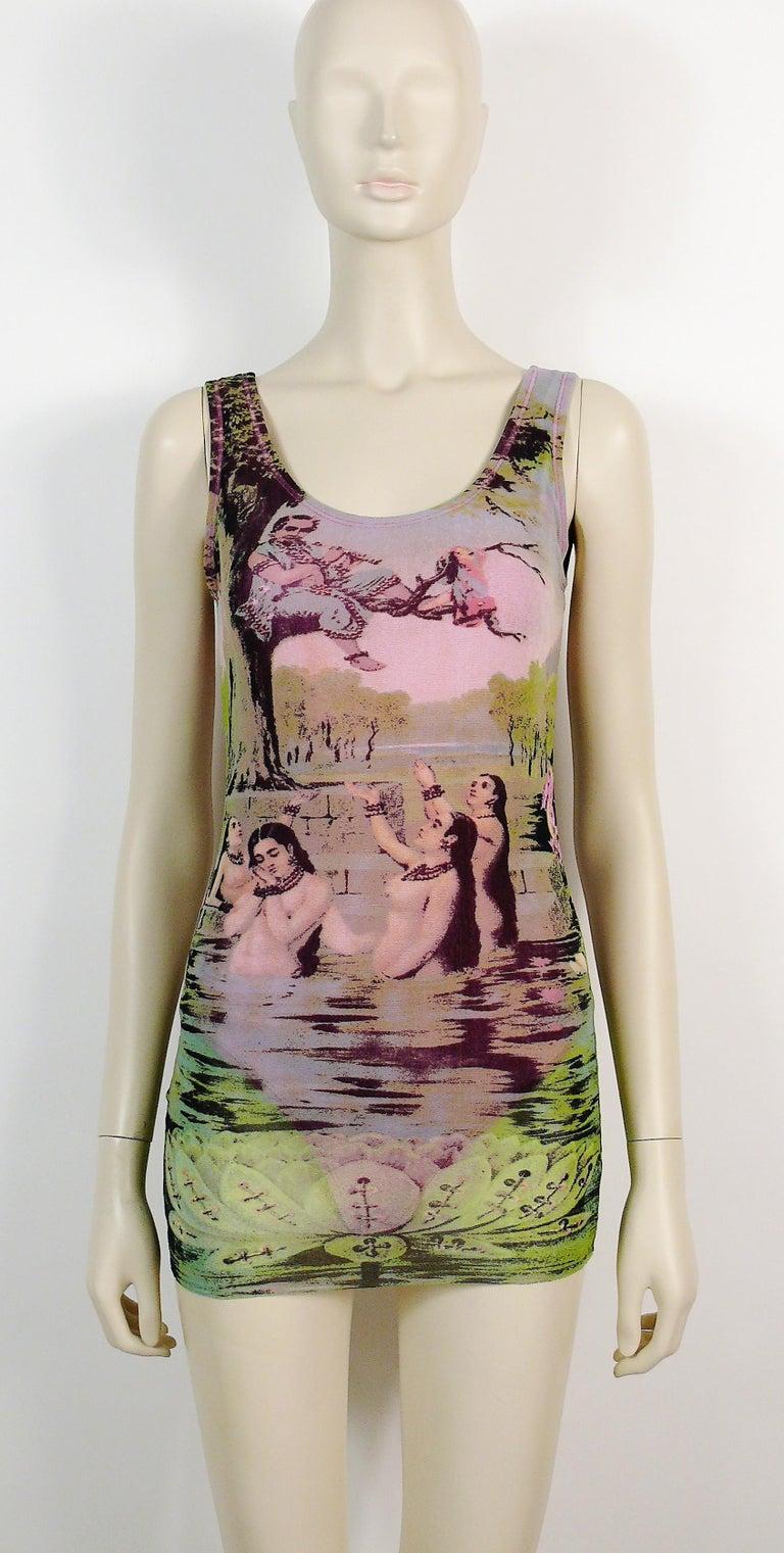 Women's Jean Paul Gaultier Vintage Oriental Bath Print Mesh Tank Micro Mini Dress Size L For Sale