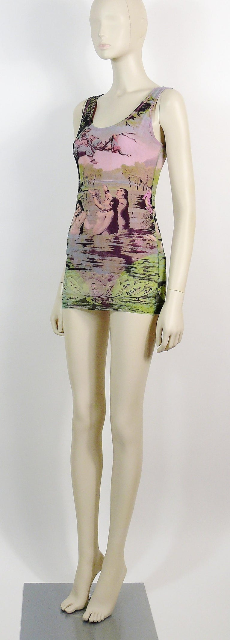 Jean Paul Gaultier Vintage Oriental Bath Print Mesh Tank Micro Mini Dress Size L For Sale 1