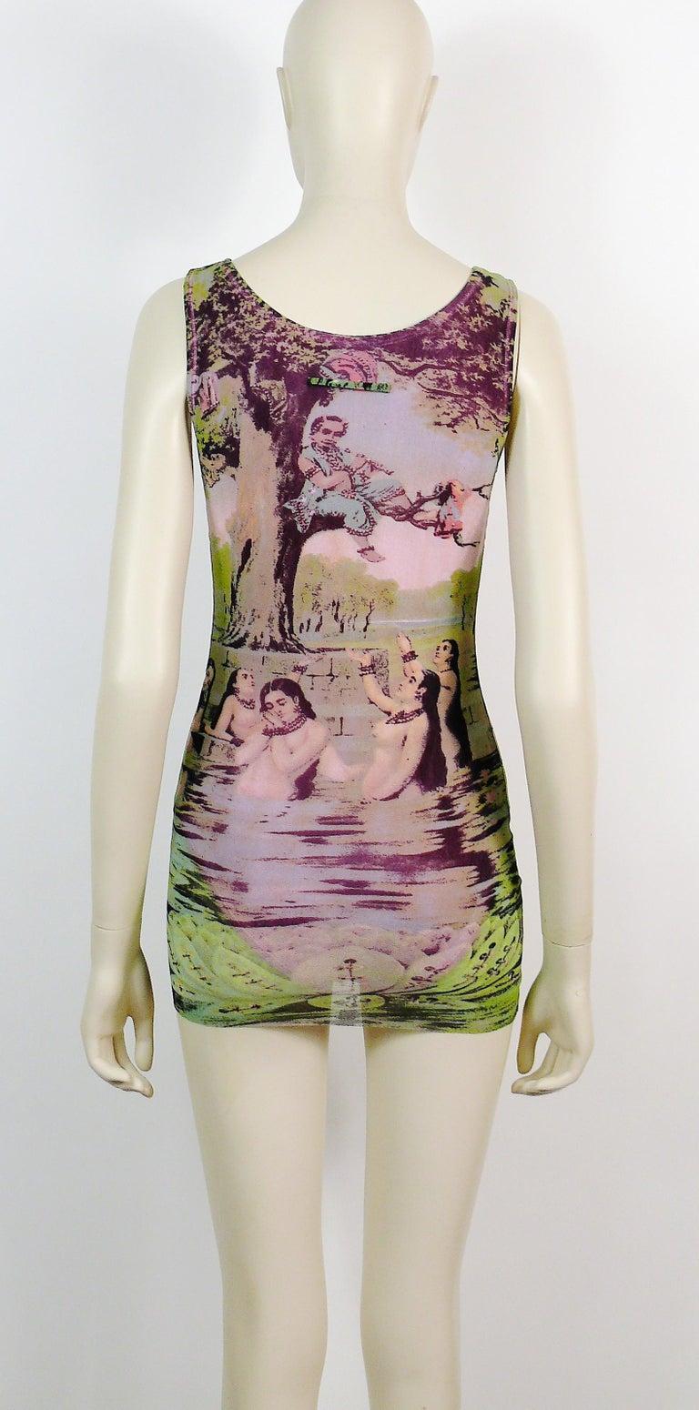 Jean Paul Gaultier Vintage Oriental Bath Print Mesh Tank Micro Mini Dress Size L For Sale 4