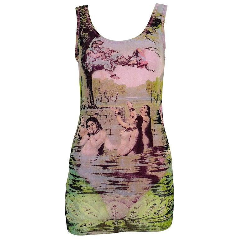 Jean Paul Gaultier Vintage Oriental Bath Print Mesh Tank Micro Mini Dress Size L For Sale