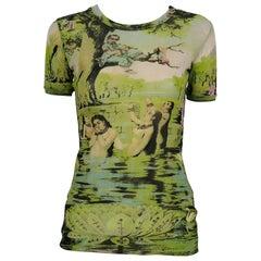 Jean Paul Gaultier Vintage Oriental Bath Print Sheer Mesh T-Shirt Size M