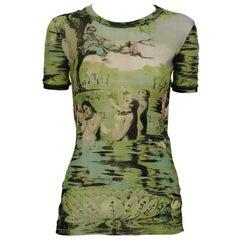 Jean Paul Gaultier Vintage Oriental Bath Print Sheer Mesh T-Shirt Size S