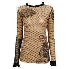 Jean Paul Gaultier Vintage Oriental Tatto Sheer Mesh Top