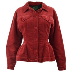 Jean Paul Gaultier Vintage Red Velvet Nipped Waist Jacket, 1980s