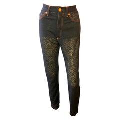 Jean Paul Gaultier Vintage Semi-Sheer Mesh Black Leggings Pants