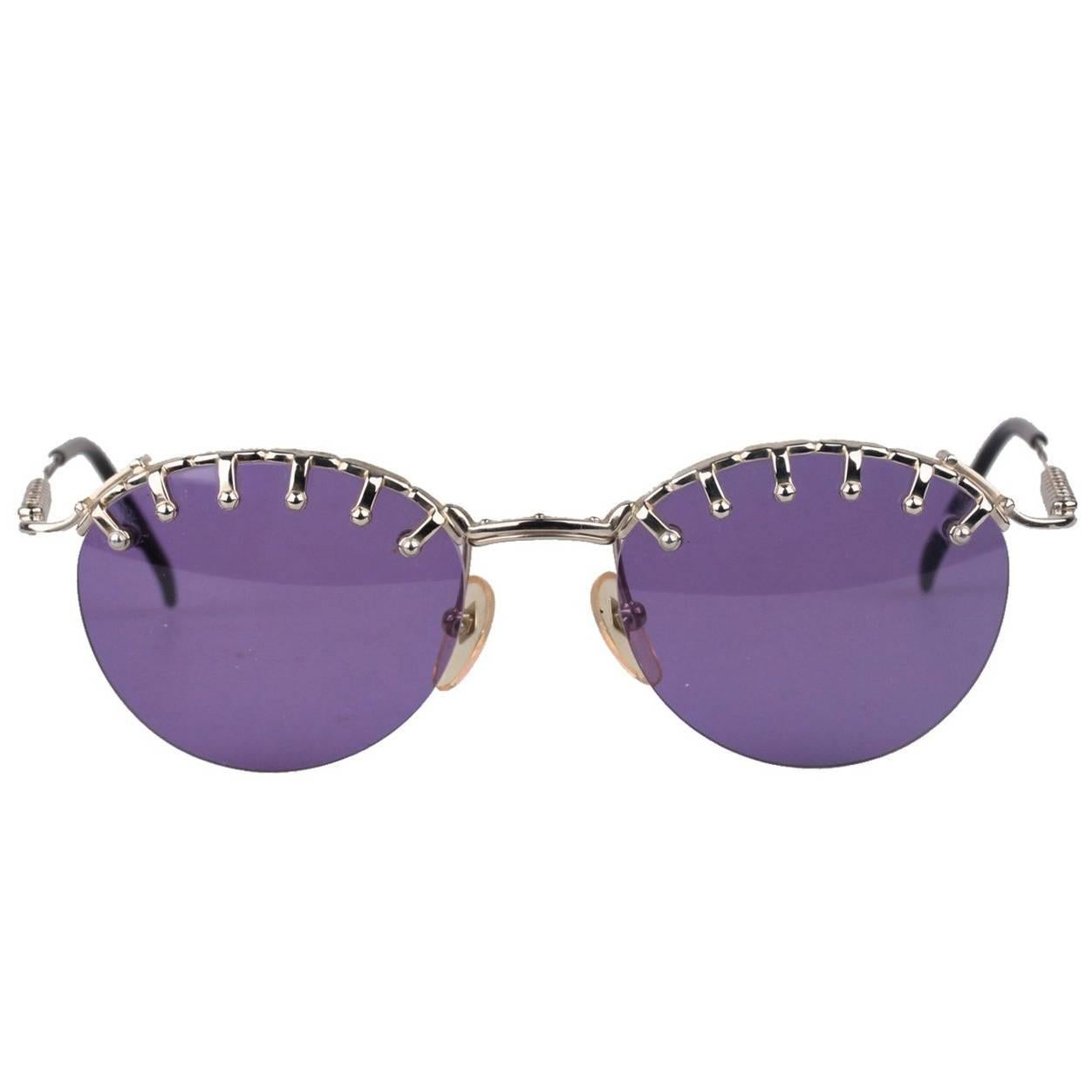 87a0f3a1e99 Jean Paul Gaultier 56-8171 Silver Sunglasses For Sale at 1stdibs