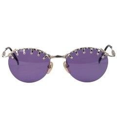 JEAN PAUL GAULTIER Vintage Silver Sunglasses 56-5103 Nos w/ Case