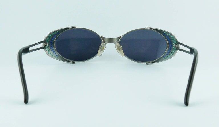 Jean Paul Gaultier Vintage Blue Green Model 56-7109 Steampunk Sunglasses  For Sale 5