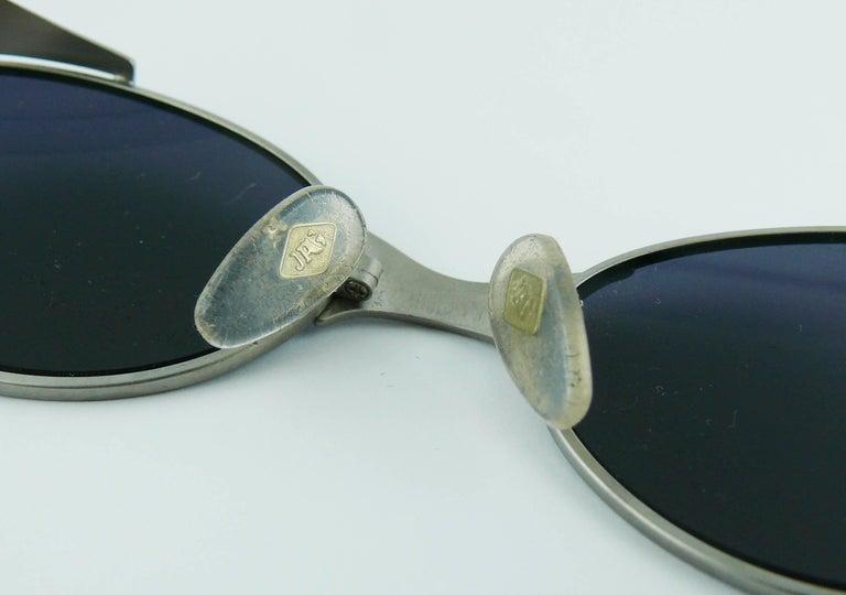 Jean Paul Gaultier Vintage Blue Green Model 56-7109 Steampunk Sunglasses  For Sale 6