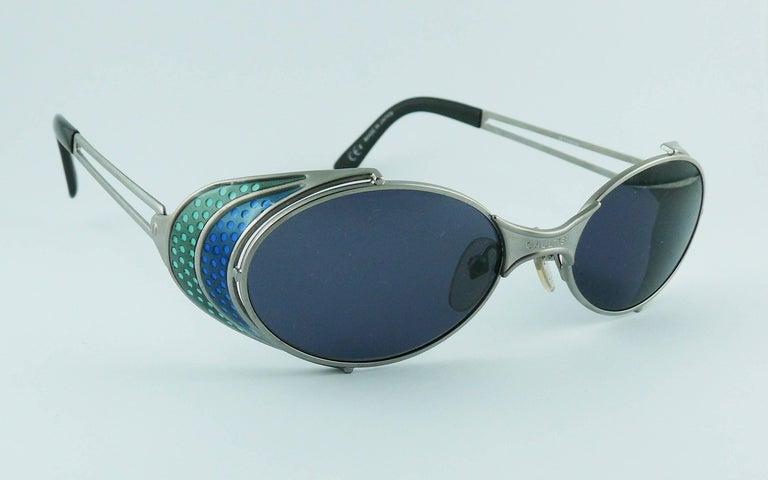 Gray Jean Paul Gaultier Vintage Blue Green Model 56-7109 Steampunk Sunglasses  For Sale