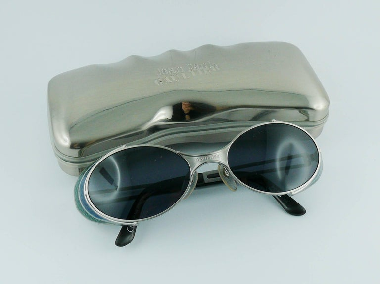 Jean Paul Gaultier Vintage Blue Green Model 56-7109 Steampunk Sunglasses  In Excellent Condition For Sale In Nice, FR