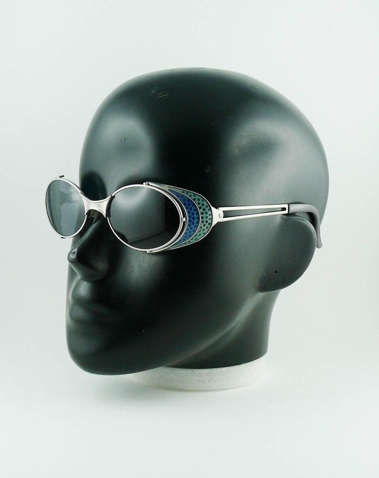 Women's or Men's Jean Paul Gaultier Vintage Blue Green Model 56-7109 Steampunk Sunglasses  For Sale