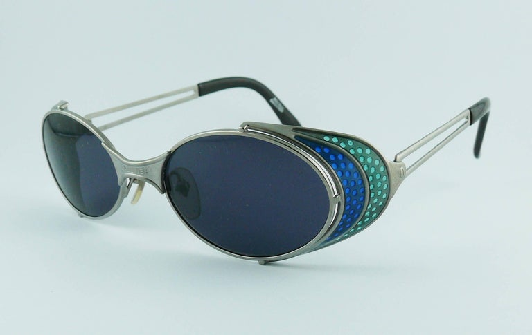 Jean Paul Gaultier Vintage Blue Green Model 56-7109 Steampunk Sunglasses  For Sale 1