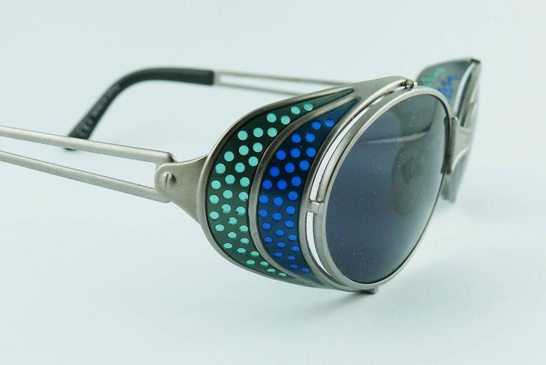 Jean Paul Gaultier Vintage Blue Green Model 56-7109 Steampunk Sunglasses  For Sale 2