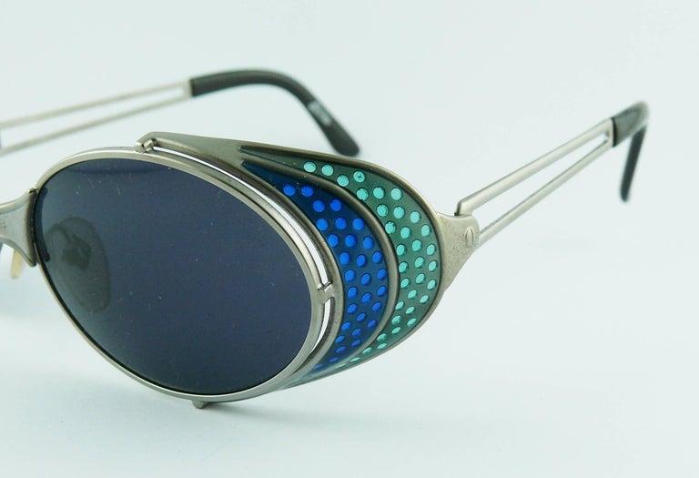 Jean Paul Gaultier Vintage Blue Green Model 56-7109 Steampunk Sunglasses  For Sale 3