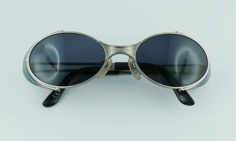 Jean Paul Gaultier Vintage Blue Green Model 56-7109 Steampunk Sunglasses  For Sale 4