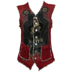 Jean Paul Gaultier Vintage Tattoo Session Print Sheer Mesh Vest with Size XL