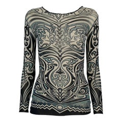 Jean Paul Gaultier Vintage Tribal Tatto Sheer Mesh Top Size S